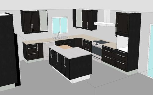 The Tidahold black-brown is a very dark espresso color. Here is a mock-up of our kitchen design in the black brown & Tuesdayu0027s Child: Kitchen Plan - Your Vote is Needed!